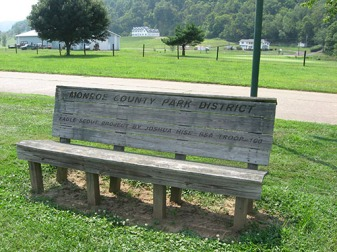 A Boy Scout, Joshua Hise, built this bench from which to view the river.