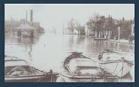 Gazebo in 1937 flood boats waiting