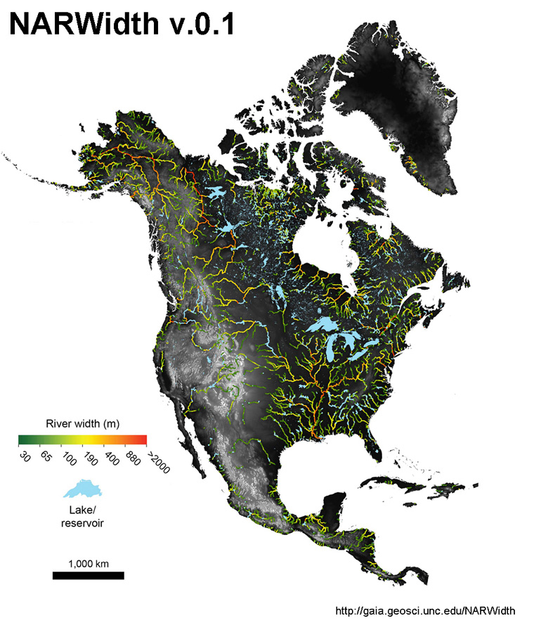 North American River Width dataset