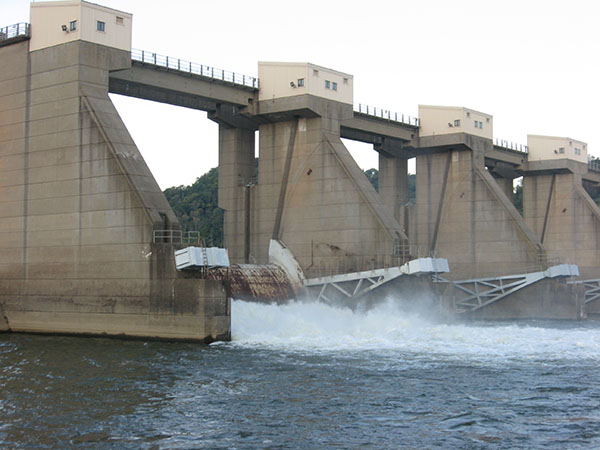 water over dam