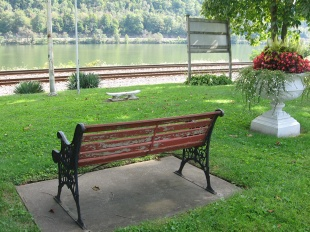 bench facing river