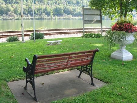 bench facing river