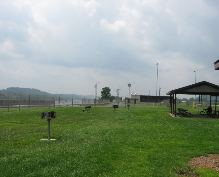 picnic shelter with view of lock